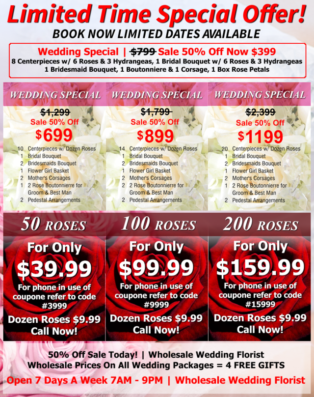 Wholesale Wedding Flower Packages Ca